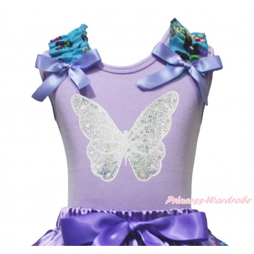 Lavender Tank Top Peacock Blue Butterfly Ruffles Lavender Bow & Sparkle White Butterfly Print TB1231