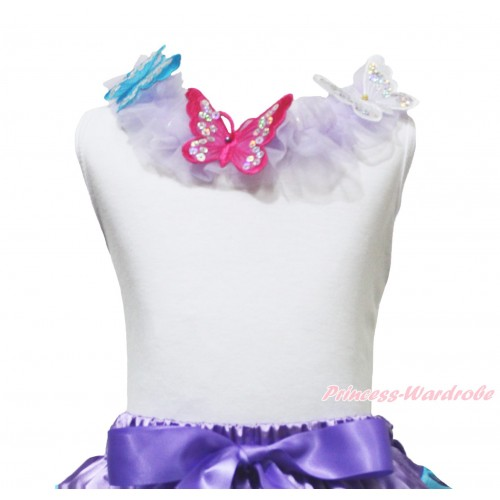 White Tank Top Lavender Chiffon Lacing & 3D Sparkle Blue Hot Pink White Butterfly TB1233