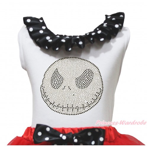 Halloween White Tank Top Black White Dots Lacing & Sparkle Rhienstone Jack Print TB1235