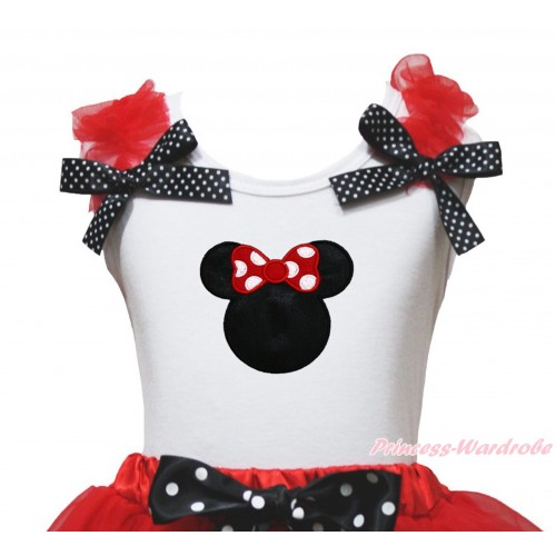 White Tank Top Red Ruffles Black White Dots Bow & Red Minnie Print TB1237