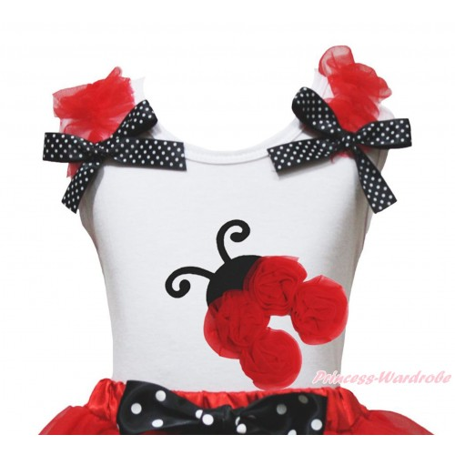 White Tank Top Red Ruffles Black White Dots Bow & Red Rosettes Beetle Print TB1239