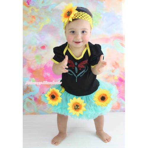 Black Baby Bodysuit Summer Sunflower Aqua Blue Pettiskirt & Sparkle Rhinestone Princess Anna Fever Print JS4567