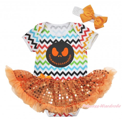 Halloween Rainbow Chevron Baby Bodysuit Bling Orange Sequins Pettiskirt & Nightmare Before Christmas Jack Print JS4604