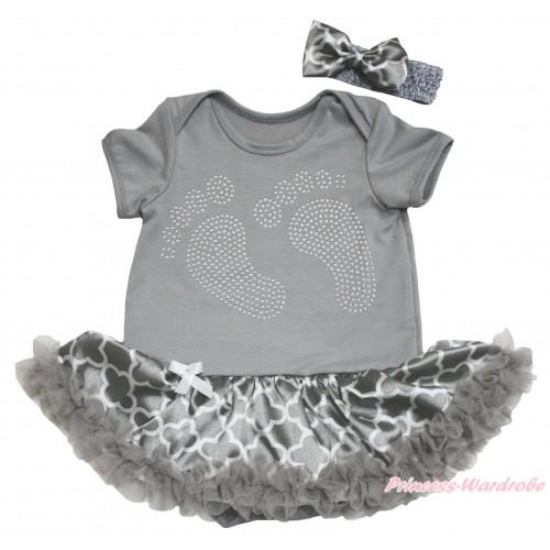Grey Baby Bodysuit Grey White Quatrefoil Clover Pettiskirt & Sparkle Rhinestone Foot Print JS4616