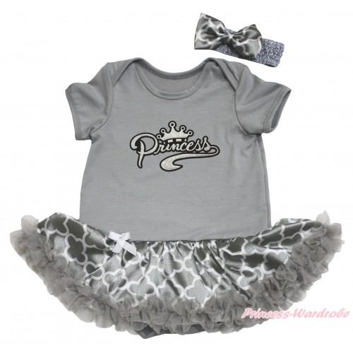 Grey Baby Bodysuit Grey White Quatrefoil Clover Pettiskirt & Sparkle Grey Princess Print JS4617