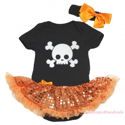 Halloween Black Baby Bodysuit Bling Orange Sequins Pettiskirt & White Skeleton Print JS4624