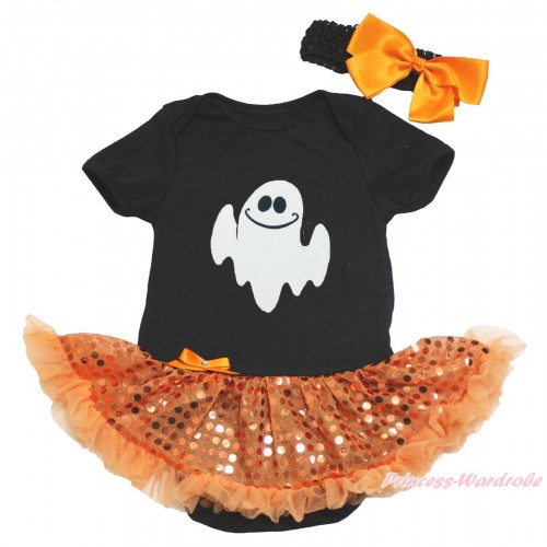 Halloween Black Baby Bodysuit Bling Orange Sequins Pettiskirt & White Ghost Print JS4625