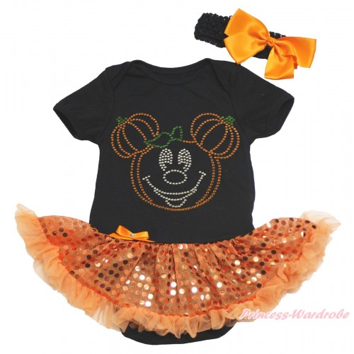 Halloween Black Baby Bodysuit Bling Orange Sequins Pettiskirt & Sparkle Rhinestone Pumpkin Minnie Print JS4628