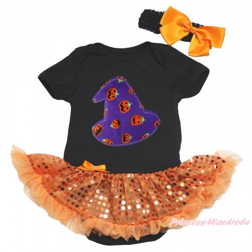 Halloween Black Baby Bodysuit Bling Orange Sequins Pettiskirt & Purple Pumpkin Hat Print JS4630