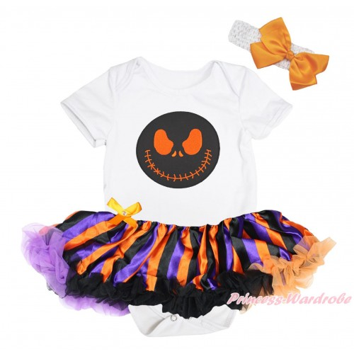 Halloween White Baby Bodysuit Orange Purple Black Striped Pettiskirt & Nightmare Before Christmas Jack Print JS4647