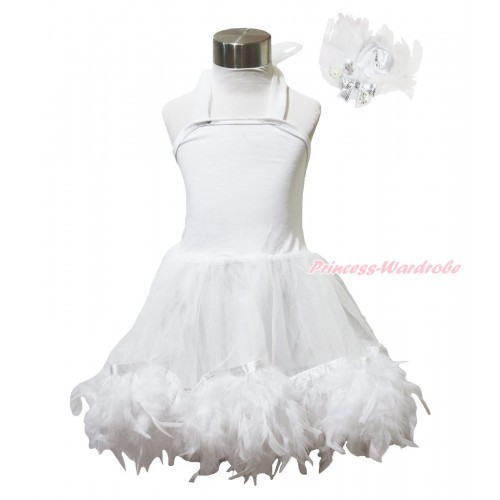 White Feather ONE-PIECE Halter Dress LP218