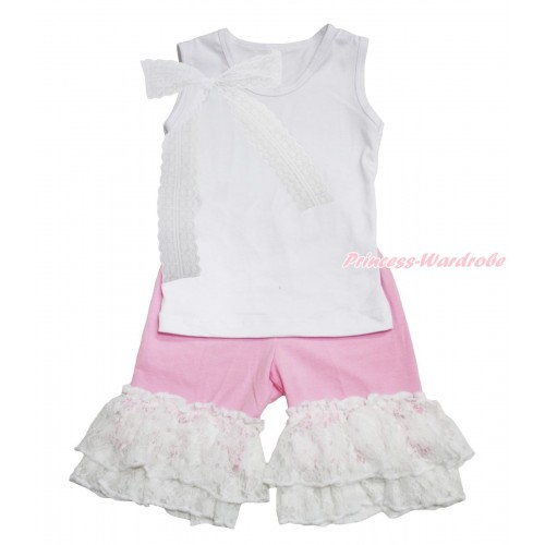 White Tank Top Lace Bow & Light Pink Cotton Short Pantie & White Lace Ruffles P044