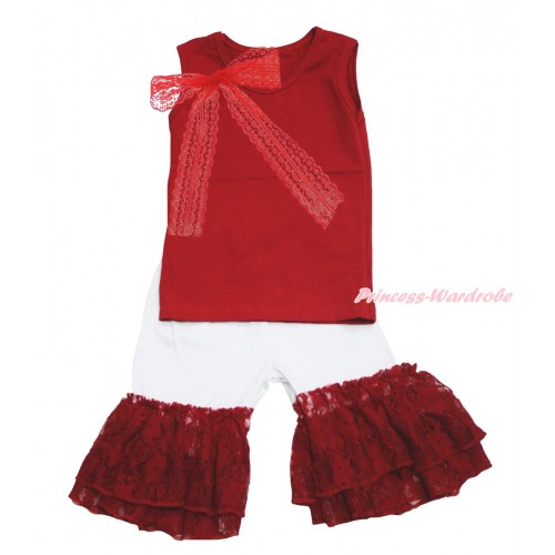 Red Tank Top Lace Bow & White Cotton Short Pantie & Red Lace Ruffles P045