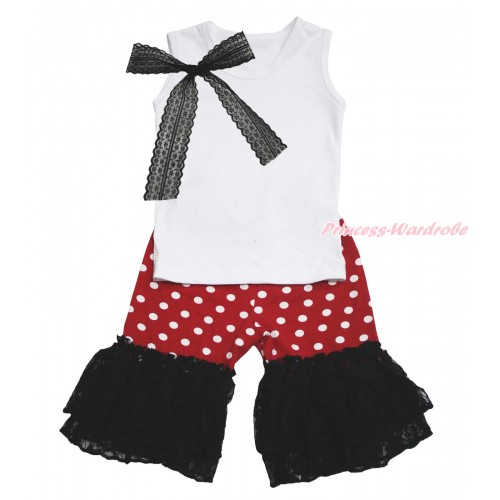 White Tank Top Black Lace Bow & Minnie Dots Cotton Short Pantie & Black Lace Ruffles P046