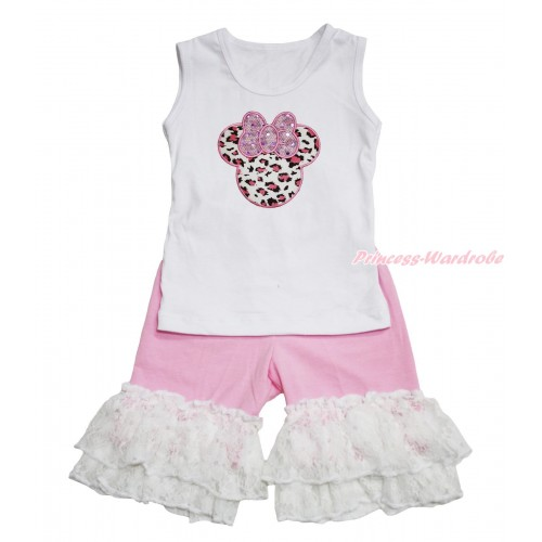 White Tank Top Light Pink Leopard Minnie Print & Light Pink Cotton Short Pantie & White Lace Ruffles P048