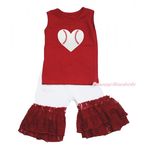 Valentine's Day Red Tank Top Baseball Heart Print & White Cotton Short Pantie & Red Lace Ruffles P050