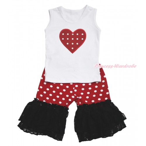 Valentine's Day White Tank Top Red White Dots Heart Print & Minnie Cotton Short Pantie & Black Lace Ruffles P052