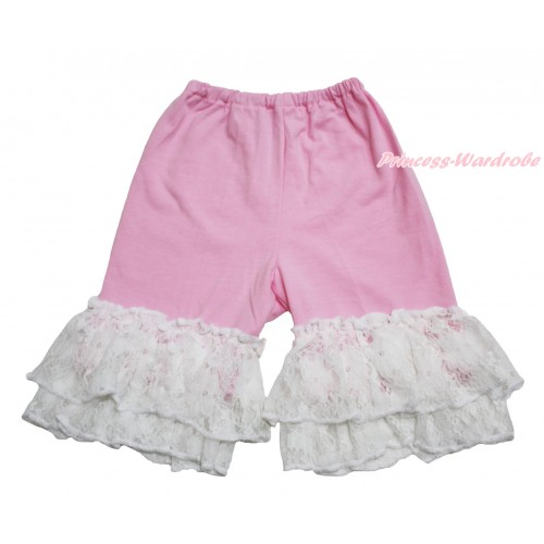 Light Pink Cotton Short Pantie & White Lace Ruffles PS022