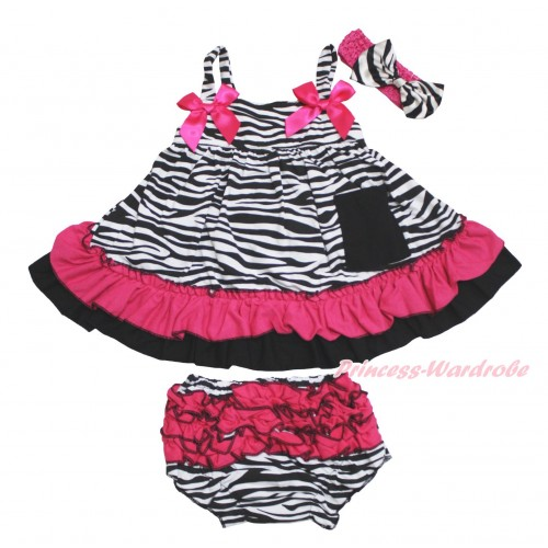Hot Pink Zebra Swing Top Hot Pink Bow matching Panties Bloomers SP30