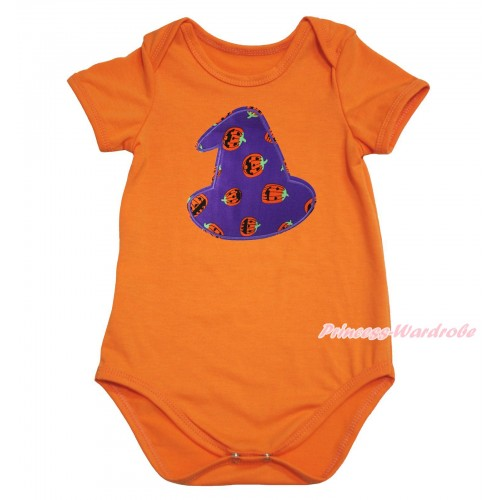 Halloween Orange Baby Jumpsuit & Purple Pumpkin Hat Print TH610