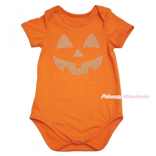 Halloween Orange Baby Jumpsuit & Sparkle Rhinestone Pumpkin Face Print TH611