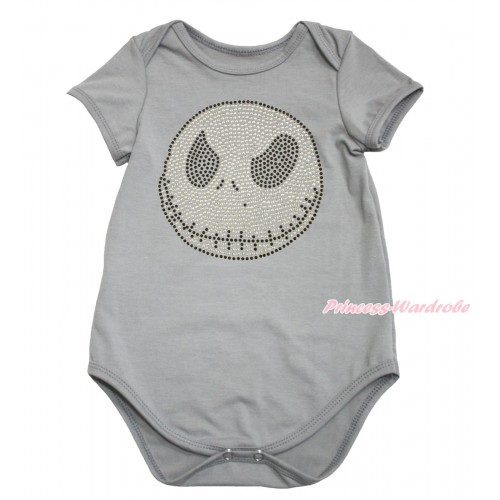 Halloween Grey Baby Jumpsuit & Sparkle Rhinestone Jack Print TH613