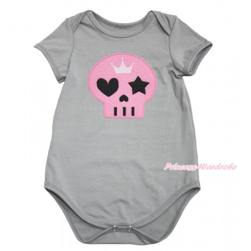 Halloween Grey Baby Jumpsuit & Light Pink Skeleton Print TH615