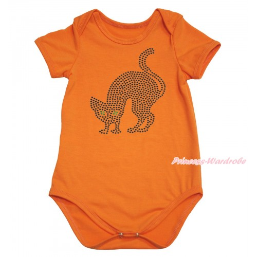 Halloween Orange Baby Jumpsuit & Sparkle Rhinestone Black Cat Print TH616