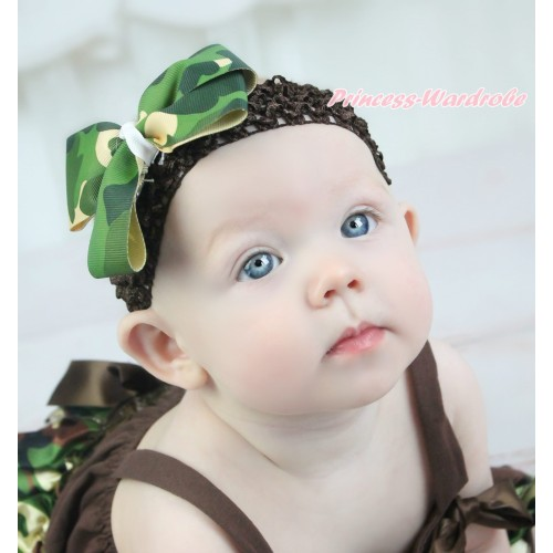 Brown Headband & Camouflage Ribbon Bow Hair Clip H1034