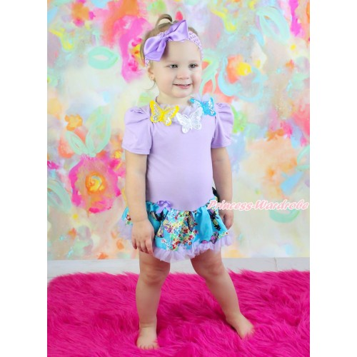 Lavender Baby Bodysuit Peacock Blue Butterfly Pettiskirt & Lavender Lacing & 3D Sparkle Yellow White Blue Butterfly Print JS4561