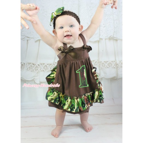 Brown Camouflage Swing Top Brown Bow & 1st Camouflage Birthday Number matching Panties Bloomers SP29