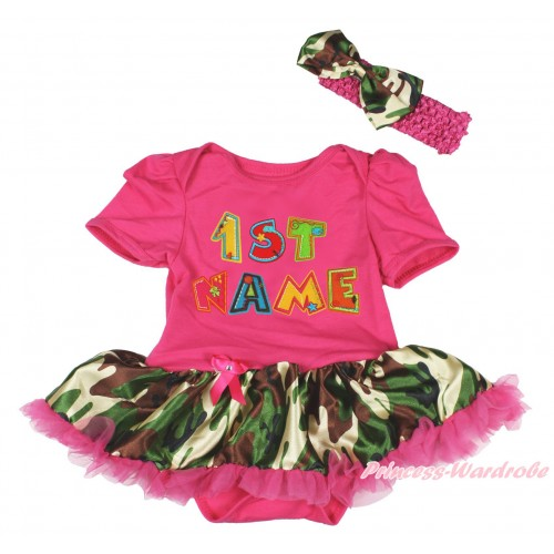 Personalize Custom Hot Pink Baby Bodysuit Camouflage Hot Pink Pettiskirt & Birthday Baby Name JS4586