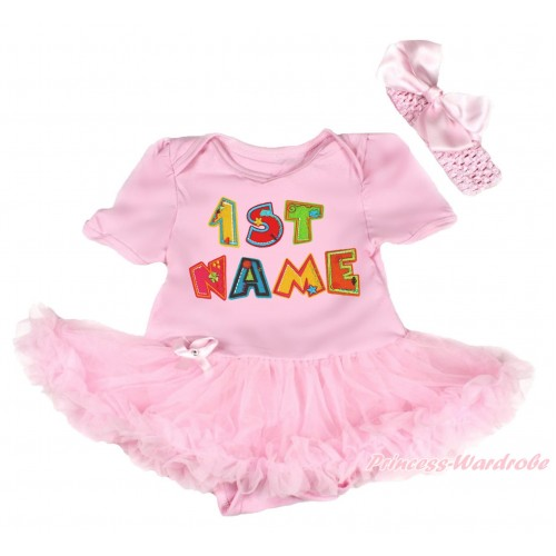 Personalize Custom Light Pink Baby Bodysuit Pettiskirt & Birthday Baby Name JS4587