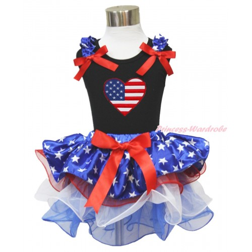American's Birthday Black Tank Top Patriotic American Star Ruffles Red Bows & Patriotic American Heart Print & Red Bow American Star Red White Blue Petal Pettiskirt MG1741