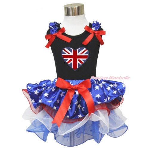 American's Birthday Black Tank Top Patriotic American Star Ruffles Red Bows & Patriotic Britich Heart Print & Red Bow Patriotic American Star Red White Blue Petal Pettiskirt MG1742
