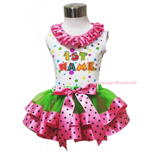 Personalize Custom White Rainbow Dots Baby Pettitop Hot Pink Black Dots Lacing & Birthday Baby Name & Dark Green Hot Pink Black Dots Trimmed Newborn Pettiskirt NG1776