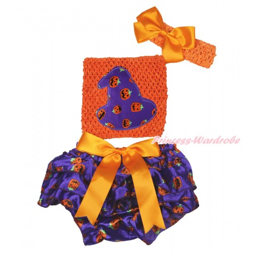 Halloween Orange Big Bow Dark Purple Pumpkin Satin Bloomer ,Purple Pumpkin Hat Print Orange Crochet Tube Top,Orange Headband Silk Bow 3PC Set CT709