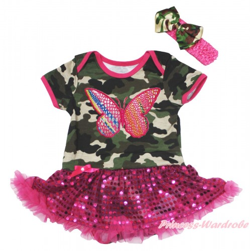 Camouflage Baby Bodysuit Bling Hot Pink Sequins Pettiskirt & Rainbow Butterfly Print JS4693