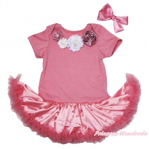 Dusty Pink Baby Bodysuit Satin Pettiskirt & Dusty Pink White Vintage Garden Rosettes Lacing JS4694