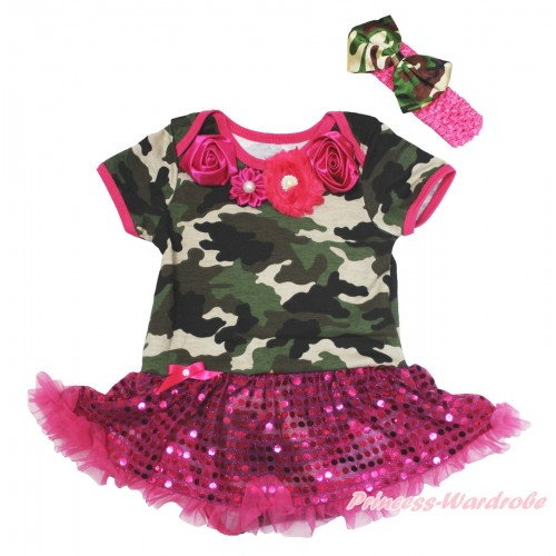 Camouflage Baby Bodysuit Bling Hot Pink Sequins Pettiskirt & Hot Pink Vintage Garden Rosettes Lacing JS4695