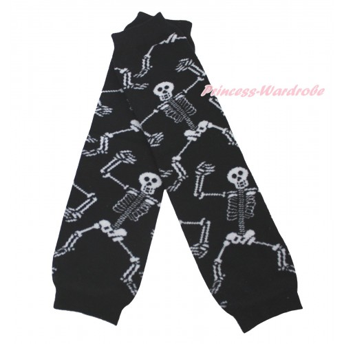Halloween Newborn Baby Black White Skeleton Bones Leg Warmers Leggings LG293