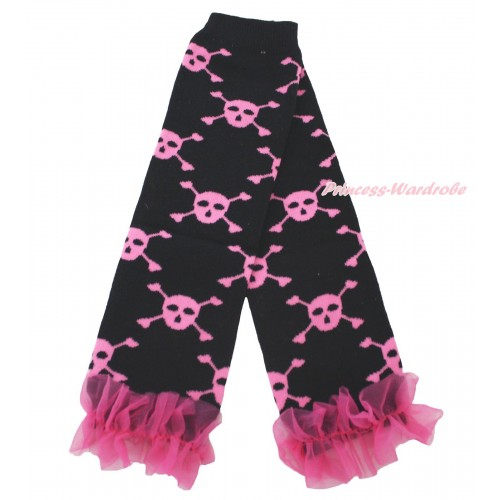 Halloween Newborn Baby Black Pink Skeleton Leg Warmers Leggings & Hot Pink Ruffles LG295