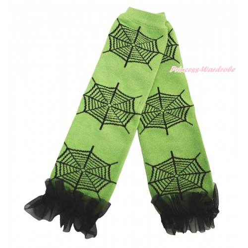 Halloween Newborn Baby Green Black Spider Web Leg Warmers Leggings & Black Ruffles LG297