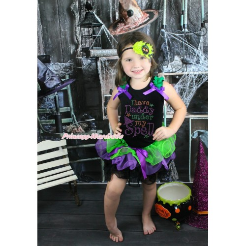 Halloween Black Tank Top Kelly Green Ruffles Dark Purple Bows & Rhinestone I Have Daddy Under My Spell Print & Dark Green Purple Black Petal Pettiskirt MG1769