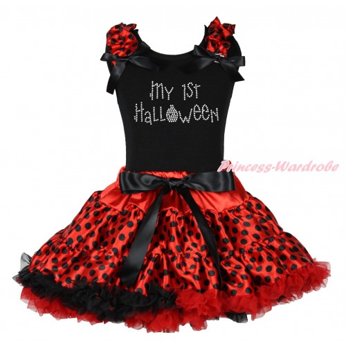 Halloween Black Tank Top Red Black Dots Ruffles Black Bows & Sparkle Rhinestone My 1st Halloween & Red Black Dots Pettiskirt MG1787