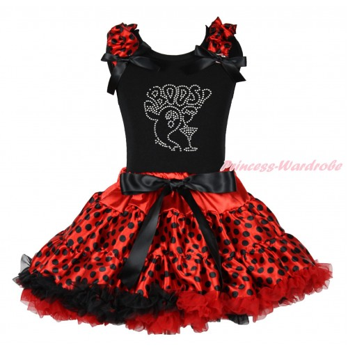 Halloween Black Tank Top Red Black Dots Ruffles Black Bows & Sparkle Rhinestone BOOS! & Red Black Dots Pettiskirt MG1788