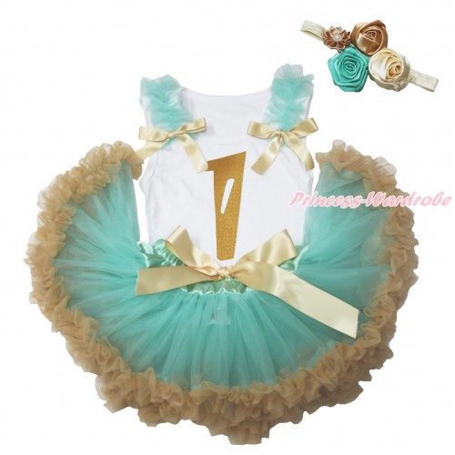 White Baby Pettitop Aqua Blue Ruffles Goldenrod Bows & 1st Sparkle Gold Birthday Number Painting & Aqua Blue Goldenrod Newborn Pettiskirt NG1789