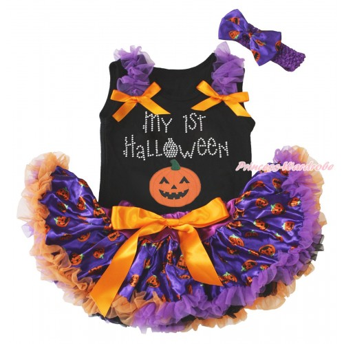 Halloween Black Baby Pettitop Dark Purple Ruffles Orange Bows & Rhinestone My 1st Halloween Pumpkin Print & Purple Pumpkin Newborn Pettiskirt NG1793