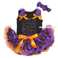 Halloween Black Baby Pettitop Dark Purple Ruffles Orange Bows & Rhinestone I Have Daddy Under My Spell Print & Purple Pumpkin Newborn Pettiskirt NG1794
