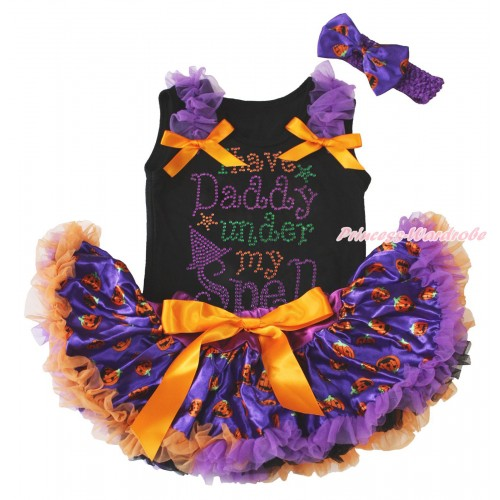 Halloween Black Baby Pettitop Dark Purple Ruffles Orange Bows & Rhinestone I Have Daddy Under My Spell Print & Purple Pumpkin Newborn Pettiskirt NG1794